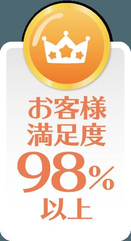 お客様満足度98%以上